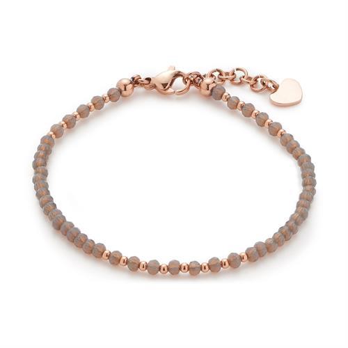 Armband Elda aus Edelstahl rosé mit Glasperlen