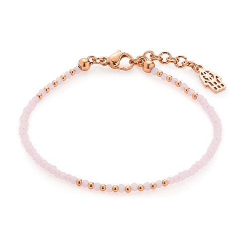 Armband Rosa aus Edelstahl rosé mit Glasschliffperlen