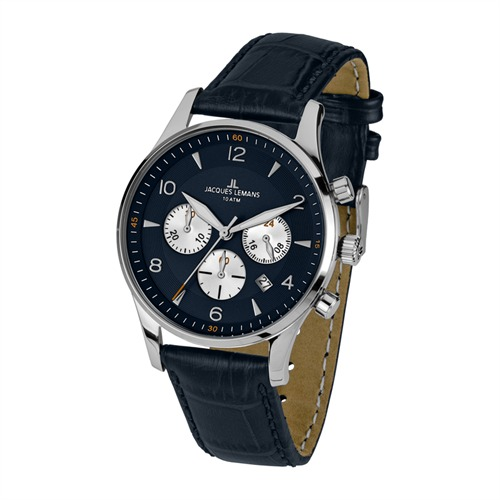Herrenuhr Chronograph Leder Jacques Lemans 1-1654C