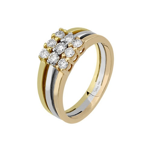 750er Goldring (18K): Ring Tricolor Diamant BIR4299
