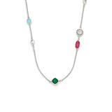 Halskette Chiaro aus Edelstahl und Glassteinen