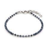 Armband Ira aus Edelstahl mit Glasperlen in Nachtblau