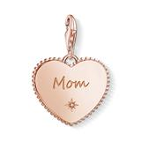 Rosévergoldeter Sterlingsilber Herz Charm Mom, Gravur