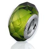 Grüner Glas Bead mit 925 Silber Fassung