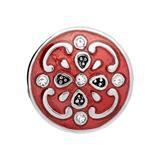 Button rötliche Emaille Blumenmuster Zirkonia