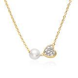 Kette Herz aus 585er Gold mit Perle und Diamanten