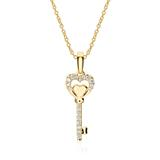 Kette Schlüssel aus 585er Gold mit Diamanten