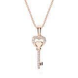 Kette Schlüssel aus 14K Roségold mit Diamanten