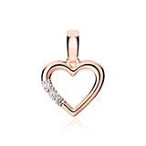 750er Roségold Anhänger Herz mit Diamanten
