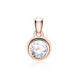 14ct Rose Gold Pendant For Ladies With Diamond