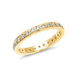 585er Gelbgoldring poliert echter Diamantbesatz
