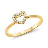 Gelbgold Ring im Herzdesign mit Diamantbesatz
