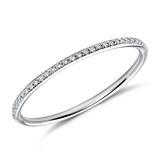 Narrow Diamond Ring 18ct White Gold Diamonds