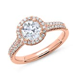 750er Roségold Halo Ring mit Brillanten