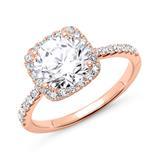 Halo-Ring 585er Roségold mit Diamanten