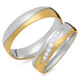 Eheringe 333er Gelb- Weissgold 7 Diamanten