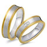Eheringe 333er Gelb- Weissgold 2 Diamanten