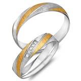 Trauringe 333er Gelb- Weissgold 5 Diamanten