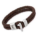 Braunes Echtleder Armband moderner Verschluss