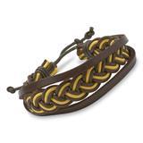 Armband Flechtoptik Leder Textil gelb dunkelbraun