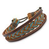 Armband Flechtdesign Leder Textil türkis braun
