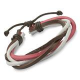 Cooles Armband mit Materialmix pink weiß braun
