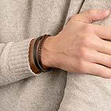 Armband braunes und schwarzes Leder gravierbar