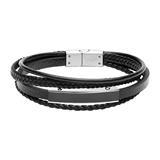 Schwarzes Kunstlederarmband, mehrsträngig und gravierbar