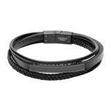 Mehrsträngiges Armband aus schwarzem Kunstleder, gravierbar