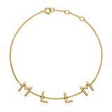 Damenarmband aus 14K Gold mit 4 Buchstaben, Symbolen