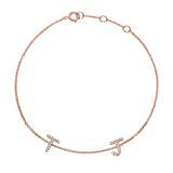 14ct. Rose Gold Diamond Bracelet, 2 Letters, Symbols