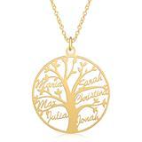 Namenskette Lebensbaum 925er Silber, vergoldet