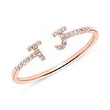 Personalisierbarer Ring aus 14K Roségold mit Diamanten