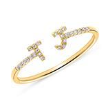 585er Goldring mit diamantbesetzten Buchstaben Symbolen