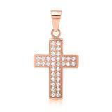 Edelstahlanhänger Kreuz rosévergoldet Zirkonia