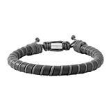 Herrenarmband Siem aus Leder, schwarz und grau