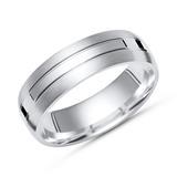 Moderner Ring 925 Silber mit Glanzschiene 6mm