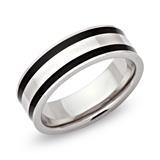Modischer Ring Edelstahl poliert 7mm ionisiert