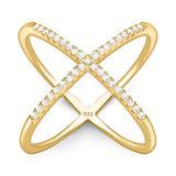 Ausdrucksstarker Ring 925er Silber Zirkonia gold
