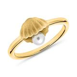 Vergoldeter 925er Silber Ring Muschel mit Perle