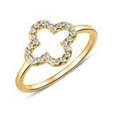 Kleeblatt-Ring aus vergoldetem 925er Silber Zirkonia