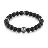 Herrenarmband Löwe aus Edelstahl mit Perlen schwarz
