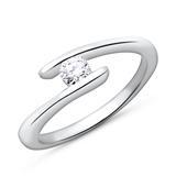 750 Weißgold Verlobungsring mit Diamant 0,15 ct.