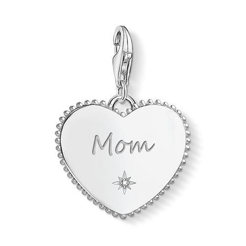 Charm Anhänger Herz Mom aus Sterlingsilber, gravierbar