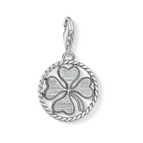 Charm Anhänger Coin Kleeblatt aus 925er Silber