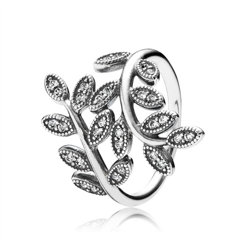 Ring Funkelnde Blätter Silber