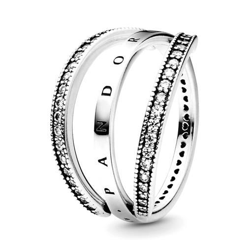Ring Flipping Hearts aus 925er Silber Zirkonia