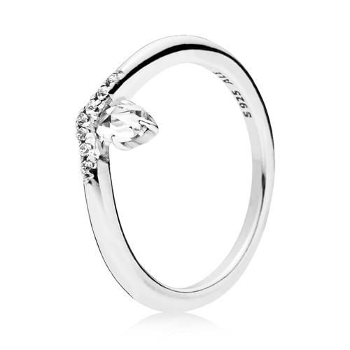 Ring Wishbone aus 925er Silber mit Zirkonia