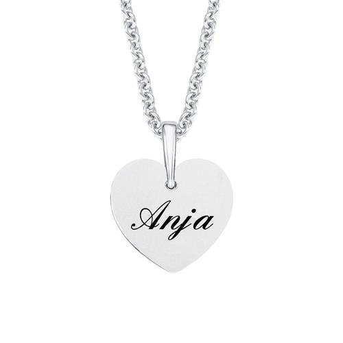 Gravurkette Herzen aus Sterlingsilber mit Zirkonia