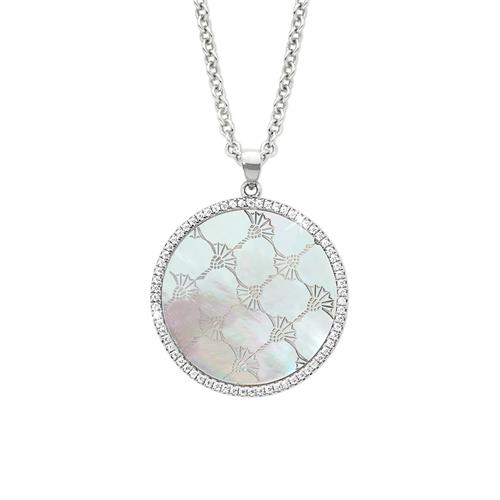 925 Silver Necklace For Ladies With Mother-Of-Pearl And Zirconia
